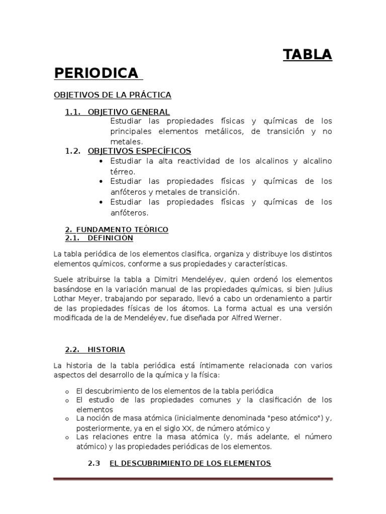 estudio de la tabla periodica informe - Tabla Periodica De Los Elementos Quimicos Y Sus Definiciones