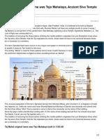 Taj Mahal original name was Tejo Mahalaya Ancient Siva Temple built in 1155 AD.pdf