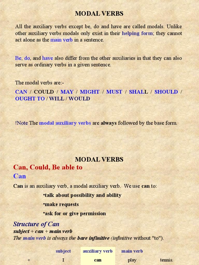 Modal Verbs Verb Semantic Units