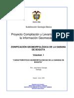 ZONIFICACIÓN GEOMORFOLÓGICA DE LA SABANA DE BOGOTA (Vol I).