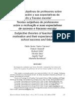 Teorías Subjetivas de Profesores Sobre La Motivación y Sus Expectativas de Éxito y Fracaso Escolar