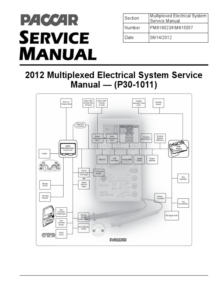 Paccar 2010 Multiplexed Electrical System Sevice ManualP301011 – Kenworth T680 Wiring Diagram 5 Pin Connector