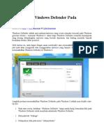 Mematikan Windows Defender Pada Windows 8