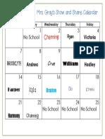 November 2016 Show and Share Calendar