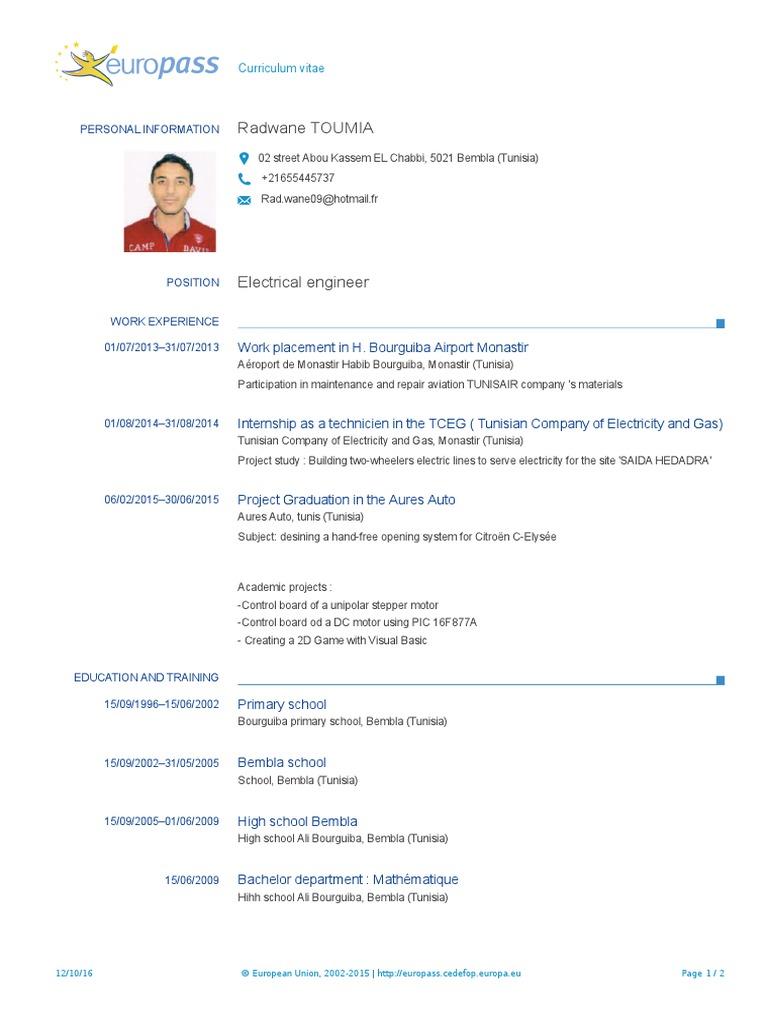 CV Europass Toumia En Tunisia