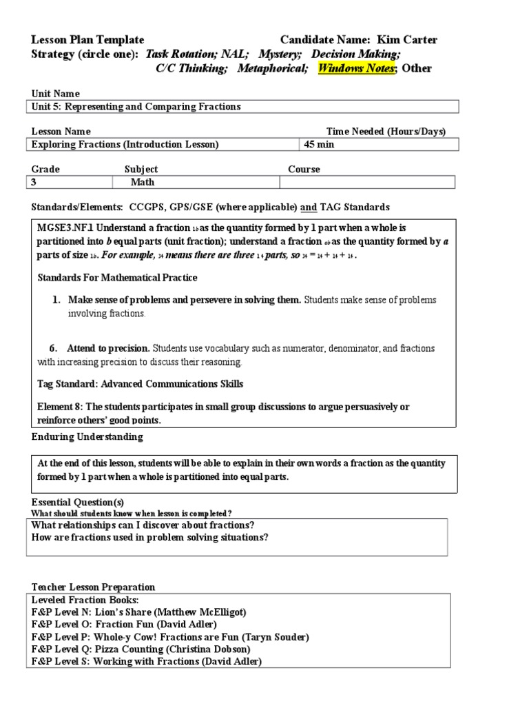 making a lesson plan template