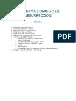 Programa Domingo de Resurrección