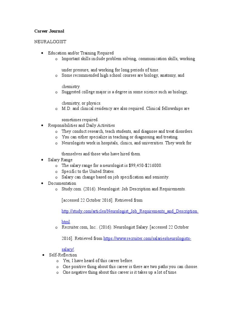 career journal neurologist