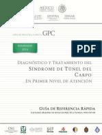 Diagnóstico y Tratamiento de Síndrome de Túnel Del Carpo en El Primer Nivel de Atención GRR