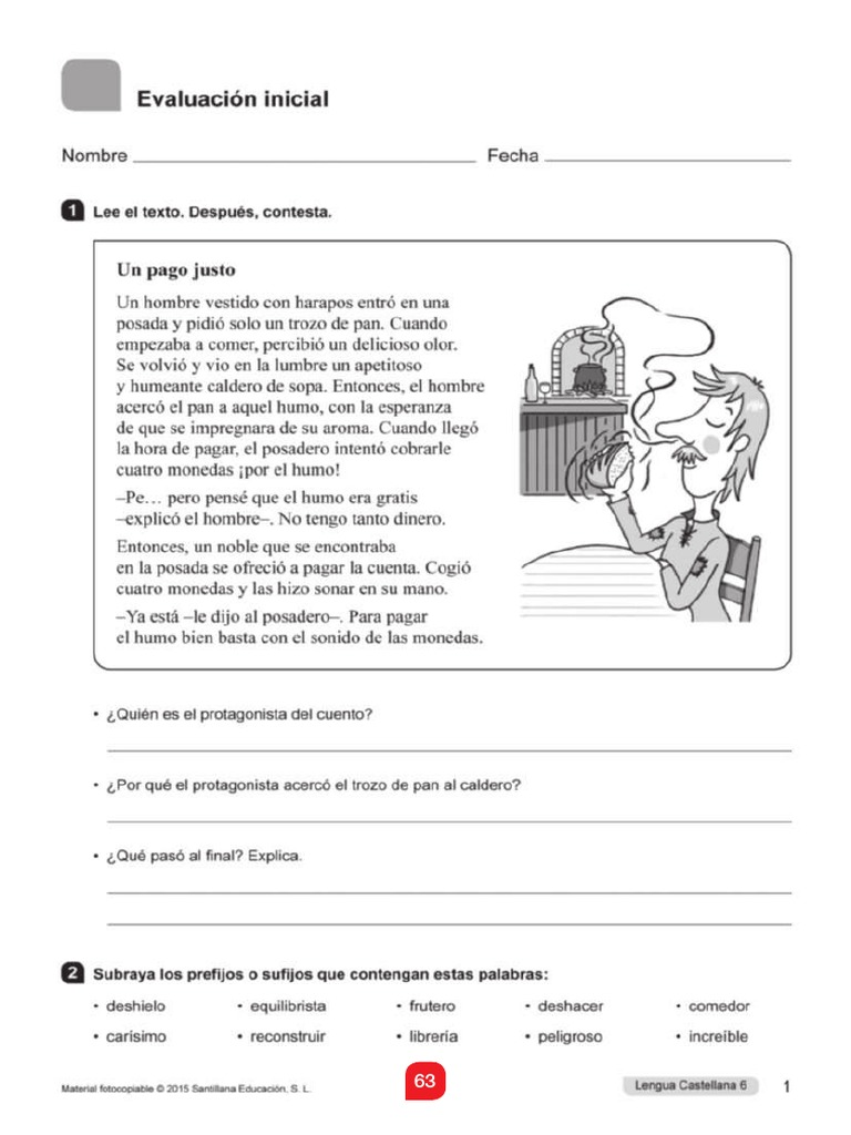 Evaluacion Lengua Saber Hacer 6 Primaria