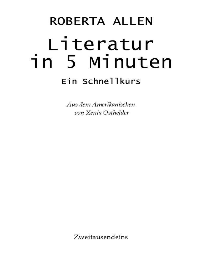 Allen Roberta Literatur In 5 Minuten Ein Schnellkurs