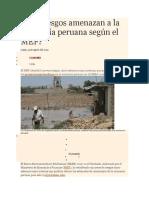 Qué Riesgos Amenazan a La Economía Peruana Según El MEF