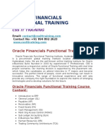 Oracle Financials Functional Modules Online Training