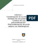 Condensación en la interfase y Cinetica de una policondensación