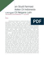 Perbedaan Studi Farmasi Dan Apoteker Di Indonesia Dengan Di Negara Lain