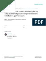 Job Satisfaction of Restaurant Employees