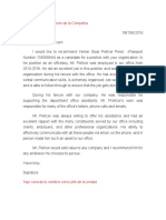 Pellicer's Job Recommendation Letter