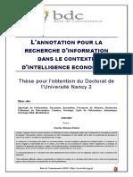L Annotation Pour La Recherche d Information Dans Le Contexte d Intelligence Economique