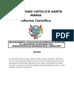 RECONOCIMIENTO Y EVALUACION DE MATERIALES USADOS EN EL LABORATORIO DE MICROBIOLOGIA,  NORMAS BÁSICAS DE SEGURIDAD EN EL LABORATORIO