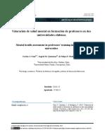 Valoración de salud mental en formación de profesores en dos universidades chilenas