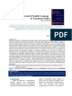 Vocabulary Acquisition Among Taiwanese Learners a Comparison of the Effects of Input Presented in Word Lists and in the Context of Literature