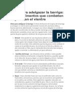 Dieta Para Adelgazar La Barriga Top 10 Alimentos Que Combaten La Grasa en El Vientre