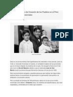 Aniversarios Tanto de Creación de Los Pueblos en El Perú Como de Los Profesionales