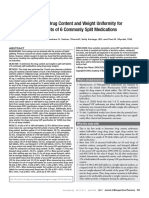 Analysis of Drug Content and Weight Uniformity for Half Tablets of 6 Commonly Split Medications