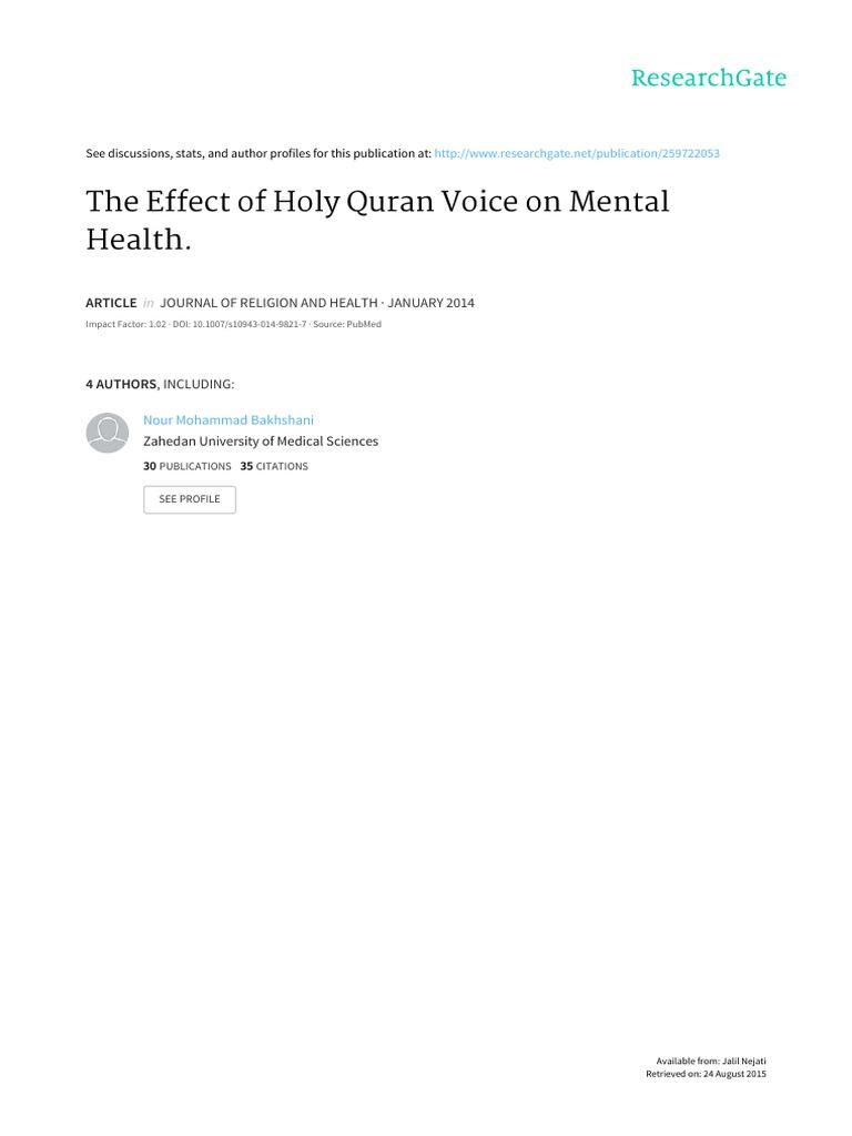 Quran Article- Nejati   Mental Health   Mann–Whitney U Test