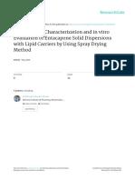 Formulation Characterization and in Vitro Evaluati