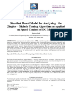 Simulink Based Model for Analysing the Ziegler – Nichols Tuning Algorithm as applied on Speed Control of DC Motor