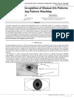 An Approach Recognition of Human Iris Patterns using Pattern Matching