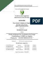 """Etude technique de l""""évaluation du forage Underbalance (UBD) en Algérie"""