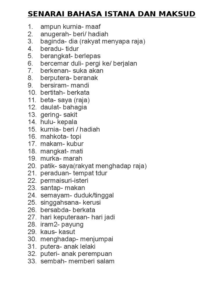 Senarai Bahasa Istana Dan Maksud