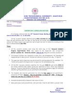 Jntua r&d Phd m.phil Ms 12th Rrm Important Circular Dt 08th Aug 2016 to 11th Aug 2016.Pdf_205001