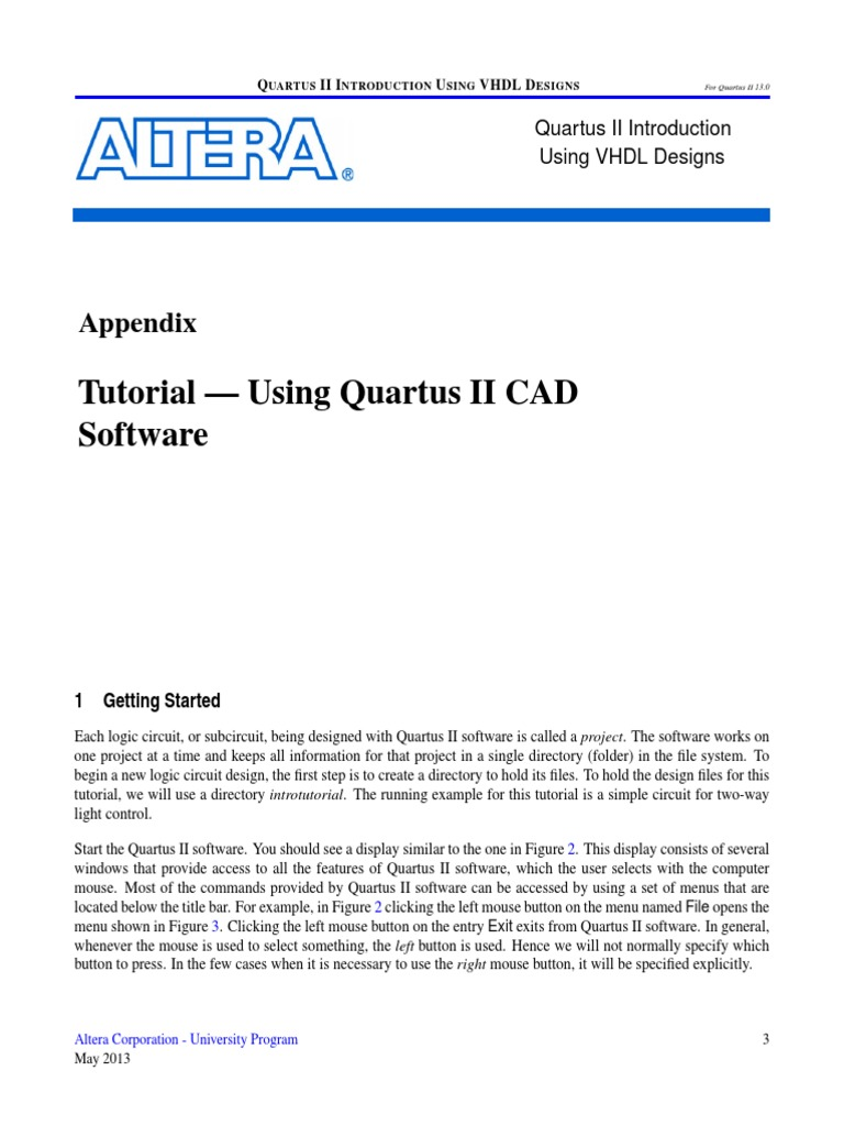 Quartus Ii Introduction V13pdf Field Programmable Gate Array Vhdl 2 Block Diagram Tutorial