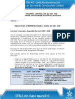 Actividad de Aprendizaje Unidad 3 Requisitos e Interpretacion de La Norma ISO 90012008