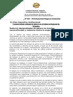 NOTA DE PRENSA N° 062 TRANSVERSALIZAN ENFOQUE DE GÉNERO EN PLAN OPERTIVO INSTITUCIONAL DEL GRA (1)