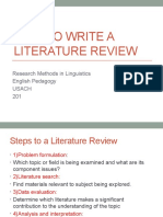 How to Write a Literature Review 2016 Adapted