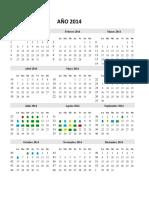 AÑO 2014 - Calendario Con Notas