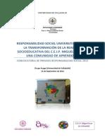 Solicitud de proyecto de responsabilidad social premiado por la Universidad de Valladolid (2012)
