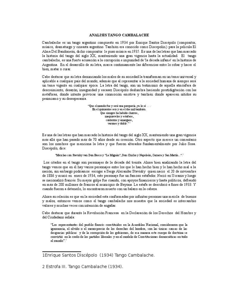 Analisis Tango Cambalache Musica Tango Política