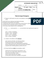 Avaliação de Língua Portuguesa. 4 Bimestre (2 Ano - E. M). P1