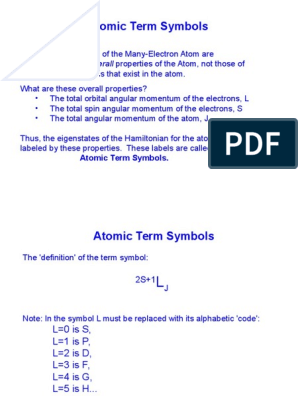 Atom Levels Term Symbol   Atomic Orbital   Electron
