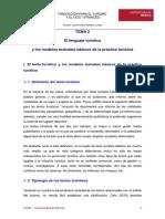 Turismo i Tema 2 El Lenguaje Del Turismo y Los Modelos Textuales Basicos