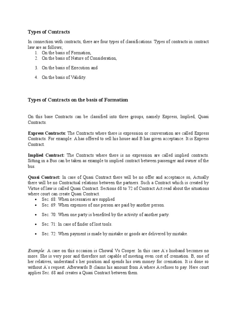 examples of quasi contract law