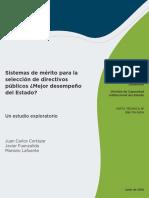 Sistemas de Merito Para La Seleccion de Directivos Publicos Un Estudio Exploratorio Mejor Desempeno Del Estado