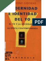Giddens Anthony Modernidad E Identidad Del Yo