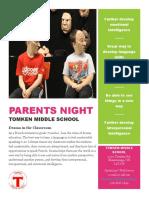 mock parent night handout