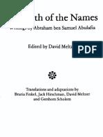 The Path of the Names (David Meltzer Trans - Abraham Ben Samuel Abulafia)